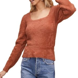 ASTR the label fuzzy square neck cropped sweater